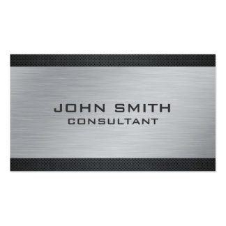 Elegant Professional Silver Metal Modern Black Pack Of Standard Business Cards
