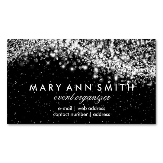 Elegant Professional Silver Sparkling Wave Black Business Card