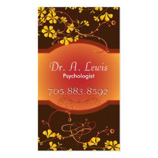 Elegant Psychologist Business Card - Orange Floral