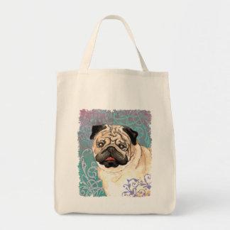 Elegant Pug Grocery Tote Bag