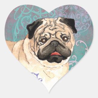 Elegant Pug Heart Sticker