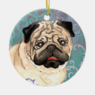 Elegant Pug Round Ceramic Decoration