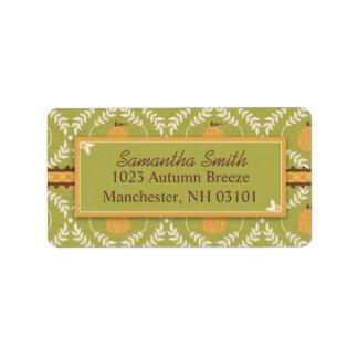 Elegant Pumpkin Damask Print for Thanksgiving Address Label