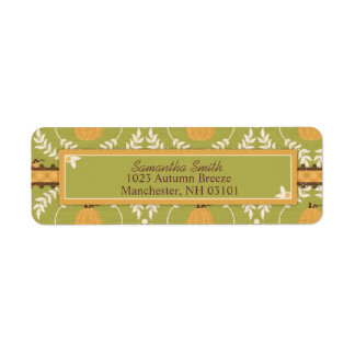Elegant Pumpkin Damask Print for Thanksgiving Return Address Label