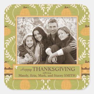 Elegant Pumpkin Damask Print for Thanksgiving Square Sticker