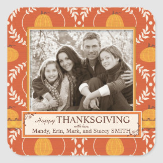 Elegant Pumpkin Damask Print for Thanksgiving Square Stickers