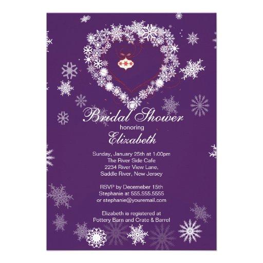 Elegant Purpl Snowflake Heart Winter Bridal Shower Personalized Announcements