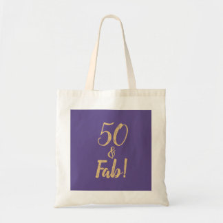 "Elegant Purple ""50 & Fab!"" 50th Birthday Party Tote Bag"