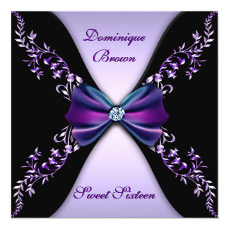 Elegant Purple and Black Invite with Diamond Bow