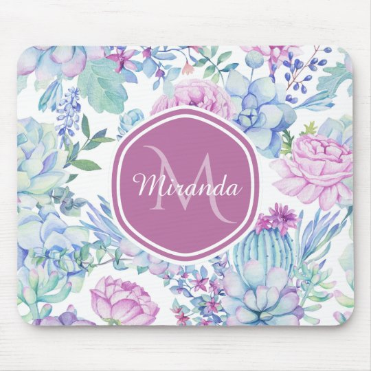 Elegant Purple and Blue Succulent Floral With Name Mouse Mat