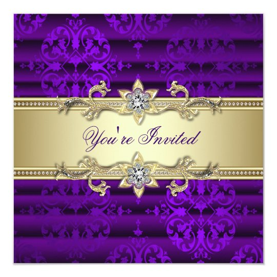 Elegant Purple and Gold Party Card