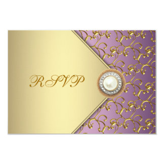 Elegant Purple and Gold RSVP Template 9 Cm X 13 Cm Invitation Card