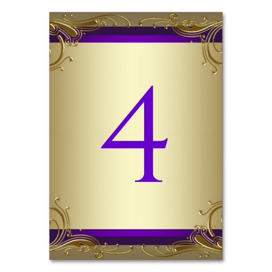 Elegant Purple and Gold Table Numbers