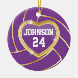 Elegant Purple and Gold Volleyball Double-Sided Ceramic Round Christmas Ornament
