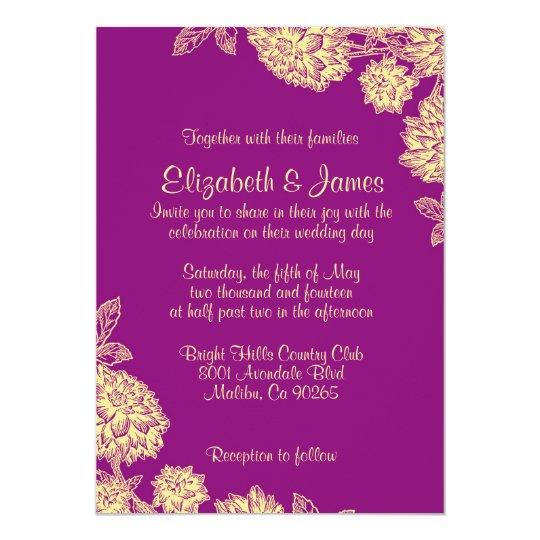 Elegant Purple And Gold Wedding Invitations