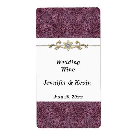 Elegant Purple and Gold Wedding Wine Label