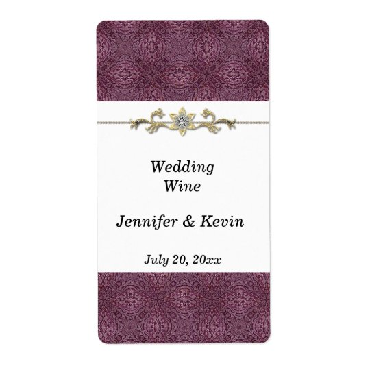 Elegant Purple and Gold Wedding Wine Label Shipping Label
