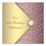 Elegant Purple and Gold Womans 50th Birthday Party 13 Cm X 13 Cm Square Invitation Card