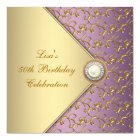 Elegant Purple and Gold Womans 50th Birthday Party Card