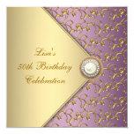 Elegant Purple and Gold Womans 50th Birthday Party 13 Cm X 13 Cm Square Invitation Card