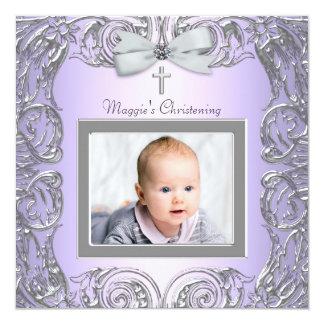"Elegant Purple and Gray Christening Invitations 5.25"" Square Invitation Card"