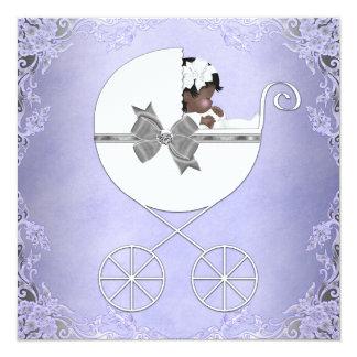 Elegant Purple and Gray Ethnic Baby Girl Shower 13 Cm X 13 Cm Square Invitation Card