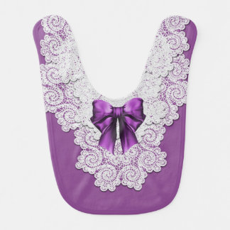 Elegant Purple and Lace Special Occasion Baby Bib