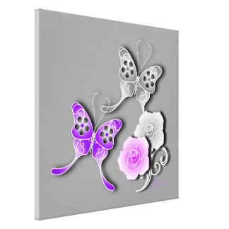 Elegant Purple And Silver Butterflies And Roses Canvas Prints