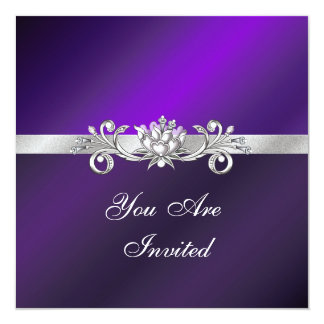 Elegant Purple and Silver Party Invitations