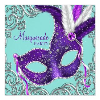 Elegant Purple and Teal Blue Masquerade Party 13 Cm X 13 Cm Square Invitation Card