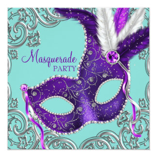Elegant Purple and Teal Blue Masquerade Party 5.25x5.25 Square Paper Invitation Card