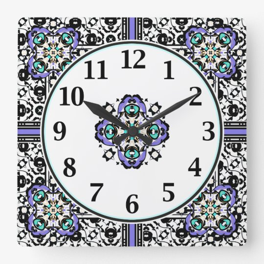 Elegant Purple and Teal Moroccan Arabesques Square Wall