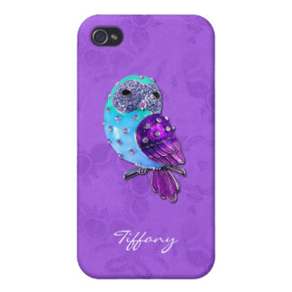 Elegant Purple and Turquoise Bejeweled Owl iPhone 4/4S Cover