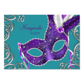 Elegant Purple and Turquoise Blue Masquerade Party 11 Cm X 16 Cm Invitation Card
