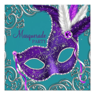 Elegant Purple and Turquoise Blue Masquerade Party 13 Cm X 13 Cm Square Invitation Card