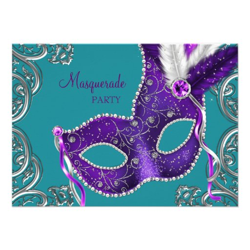 Elegant Purple and Turquoise Blue Masquerade Party Personalized Announcement