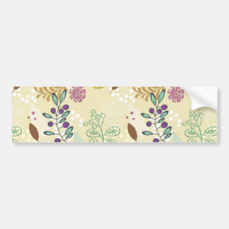 Elegant Purple and Turquoise Floral Leaf Design Bumper Sticker