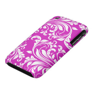 Elegant Purple and White Floral Damask iPhone 3 Case