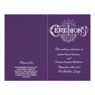 Elegant Purple And White Wedding Ceremony Programs 21.5 Cm X 28 Cm Flyer