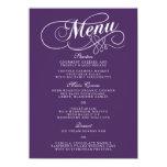Elegant Purple And White Wedding Menu Templates 11 Cm X 16 Cm Invitation Card