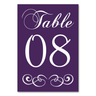 Elegant Purple And White Wedding Table Number