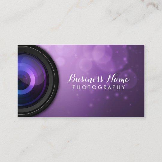 Elegant Purple Background Modern Photography Business Card
