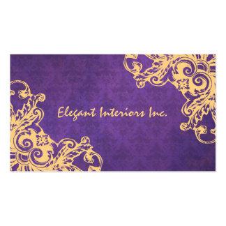 Elegant Purple Baroque Damask Renaissance Grunge Double-Sided Standard Business Cards (Pack Of 100)
