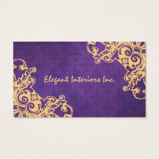 Elegant Purple Baroque Damask Renaissance Grunge Business Card