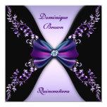 Elegant Purple Black Diamond Bow Quinceanera Personalised Invitation