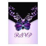 Elegant Purple Black Diamond Bow RSVP Personalized Announcement