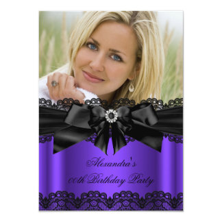 Elegant Purple Black Lace Diamond Bow Birthday Invites