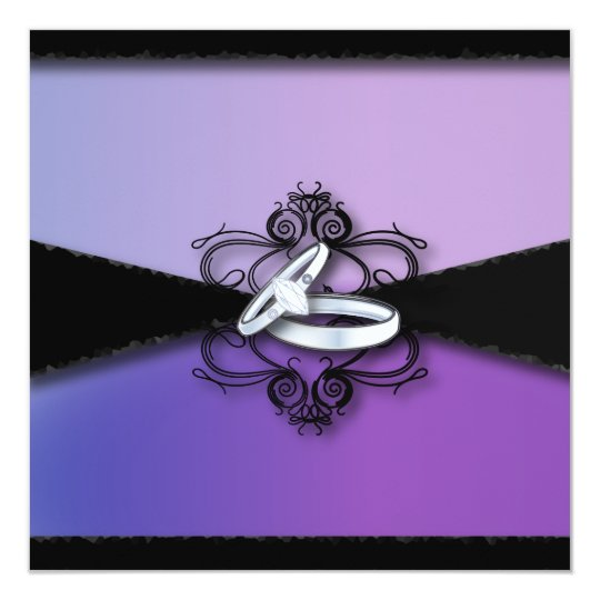 Elegant Purple Black Wedding Invitation