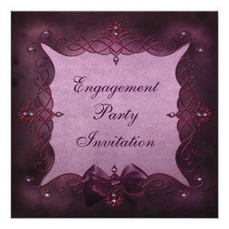 Elegant Purple Bling Bow Engagement Party Personalized Announcements