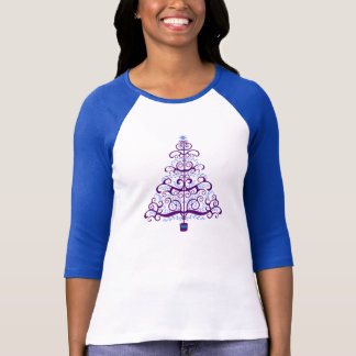 Elegant Purple Blue Christmas Tree T-Shirt